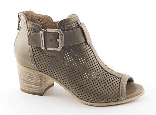 BLACK JARDINES 17020 marrón amarillento zapatos de las mujeres del tobillo del talón perforado postal romos Beige