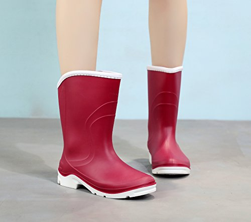 Calf Garden Rain Rubber Rainboots Boots Color Half Ankle 2 Women Round Toe Red Waterproof Rainboots For C5nvAwqfxR