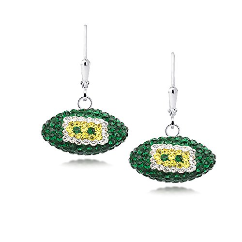 Earring Chest Sterling Silver NFL Green Bay Packers Team Colors Crystal Covered Football Dangle Earrings