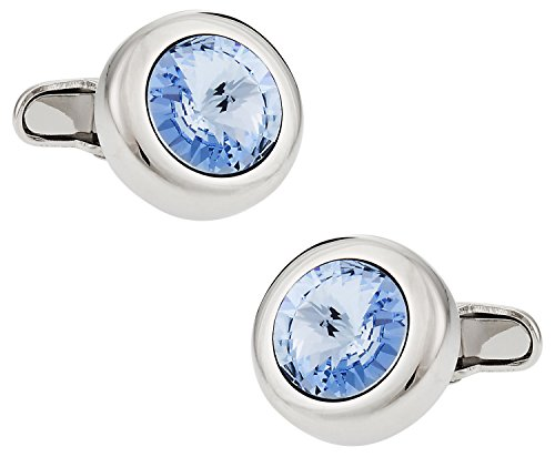 Crystal Solitaire Cufflinks in Light Blue Sapphire (Sapphire Blue Cufflinks)