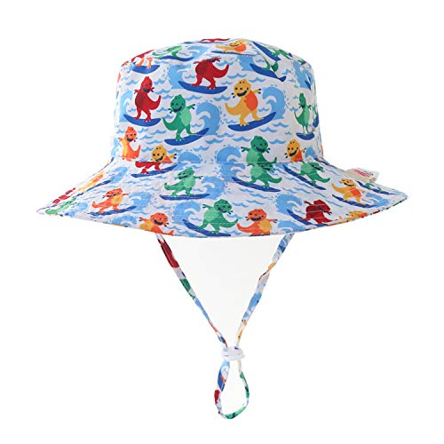 Home Prefer Baby Boys Hat UV Protection Caps Wide Brim Breathable Beach Sun Hat Dinosaur #46 3M-6M