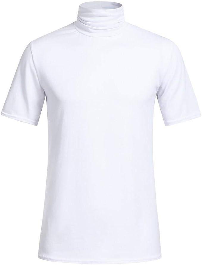 Camisetas Hombre Manga Corta SHOBDW 2019 Nuevo Cuello Alto Hombre ...