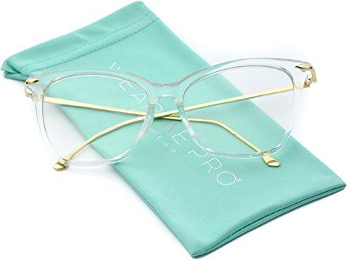[WearMe Pro - New Elegant Oversized Clear Cat Eye Non-Prescription Glasses (Clear Frame, 55)] (Clear Cat Eye Glasses)