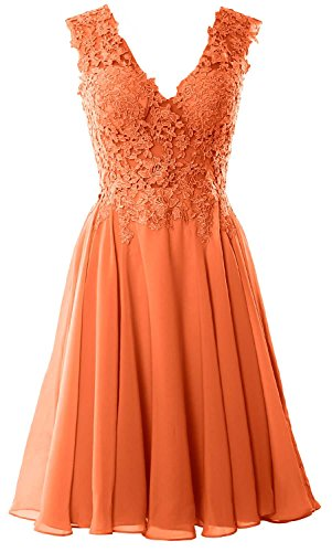 MACloth Gorgeous V Neck Cocktail Dress Short Lace Prom Homecoming Formal Gown Coral
