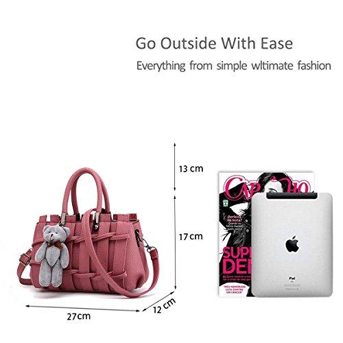 RUIREN Süße Dame Fashion Geprägte Handtasche Messenger Schultertasche Radiergummi-rosa y22hSY