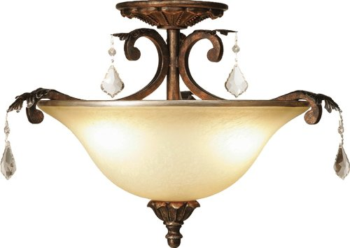 (Artcraft Lighting Florence 3-Light Semi-Flush Mount Light, Rich Bronze)