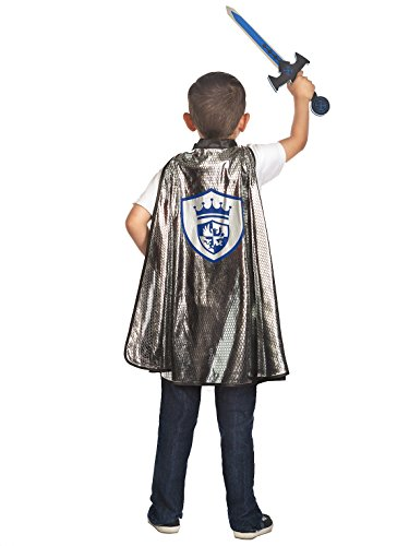 [Little Adventures Knight Cape & Sword Costume Set for Boys - One Size (3-8 Yrs)] (Shining Knight Costumes)