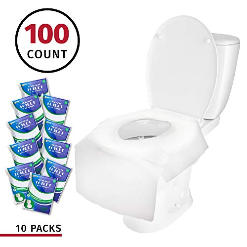 Banana Basics X-Large Disposable Paper Toilet Seat Covers | Potty Seat Covers | Flushable | Travel Friendly Packaging For Adult Use & Kids Potty Training | (10 Packs 100 Count)