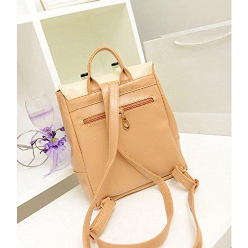 Casual PU Retro School Women's Leather Backpack Yellow Bag College Travel Handbag Fieans wIpTqExx