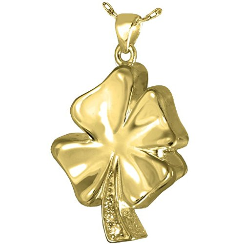 Memorial Gallery 0931GP Four Leaf Clover with Crystals 14K Gold/Silver Plating Cremation Pet Jewelry by Memorial Gallery