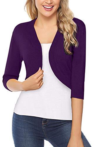 iClosam Women Open Front Cardigan 3/4 Sleeve Long Sleeve Cropped Bolero Shrug (Purple_2, Small)