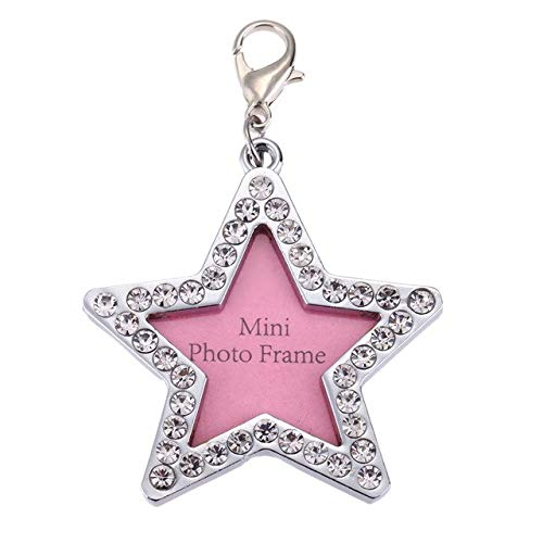 Cacys-Store - Pet Cat Dog ID Tags Customized Personalized Round Bone Star Design Anti Lost Alloy Crystal Address Name Label Dog Tag ()