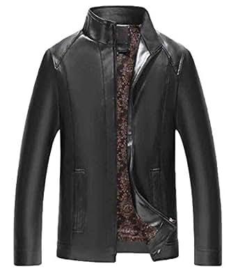 Domple Men's Zip-Up Fleece Lined Winter Thicken Warm Stand