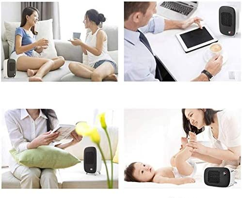 ZHWEI ヒーター、自動振動、過熱保護機能付き600W PTCセラミックヒータースモールデスクトップ暖房扇風機 ポータブル