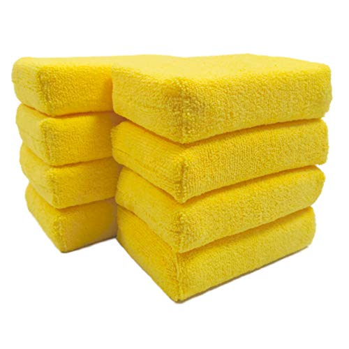 Polyte Microfiber Detailing Wax Applicator Sponge (Yellow, 8 Pack, 6x4x1.5)