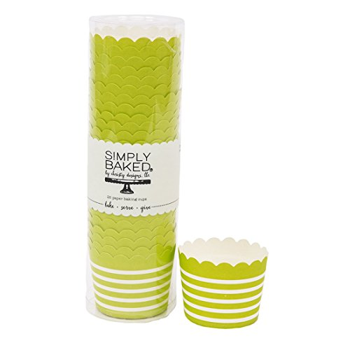Simply Baked Small Paper Baking Cup, Lime with White Stripe, 25-Pack, Entertain with Ease and Style, Serve Cupcakes, Ice cream, Appetizers and More (Small Oven Safe Dishes compare prices)
