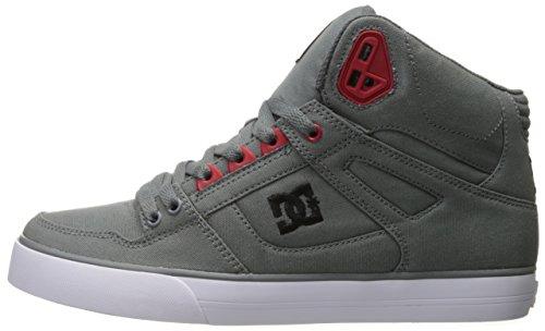 DC Men's Spartan High WC TX Skateboarding Shoe, Grey/Black/Red, 9.5 D US