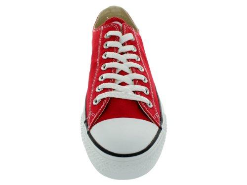 Womens Converse All Star Chuck Taylor Ochsen Schnürsenkel Low Top Canvas Sneakers Rot-Weiss