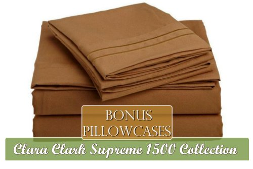 Clara Clark Supreme 1500 Collection 6 Piece Bed Sheet Set, Includes Extra Pillowcases, Queen Size, Mocha Light Brown Carmel