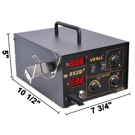 2-in-1 SMD Rework LED Digital Display Desolder Station Hot Air Gun & Soldering Iron Lead Free Professional Work Bench 110 Volts Electric Power Tool Equipment Unit