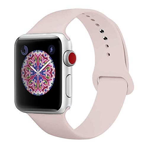 BMBEAR Sport Bands Compatible with Apple Watch 38mm 40mm Soft Silicone Band Replacement iWatch Strap for Apple Watch Series 4 Series 3 Series 2 Series 1 Pink Sand S/M
