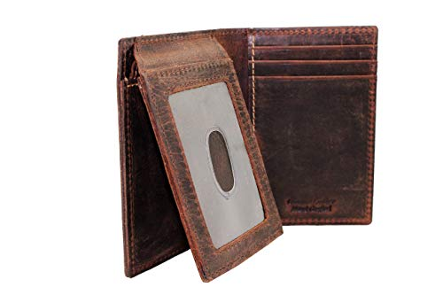 Brown L-fold wallet for Men's Crazy Horse Leather Thump Window ID Retro Style