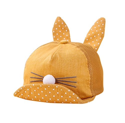 b8cb35581fd Ziory 1Pcs Yellow Mustard Summer Cute Newborn Toddler Girl Boy Rabbit ear  cat Lovely Baby hat kids Cat cap snapback dots cap  Amazon.in  Clothing    ...
