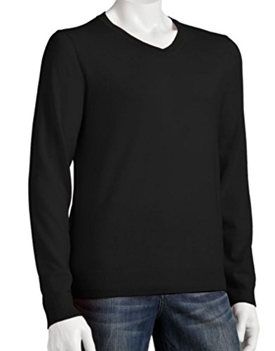Liz Claiborne Apt 9 Mens Merino Wool Blend Sweater V-Neck Solid Black (Large Tall) ()