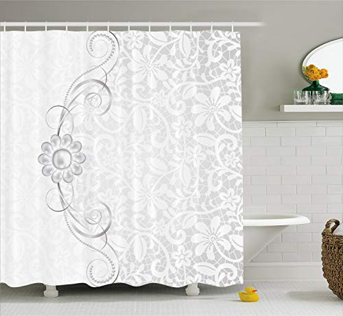 (Ambesonne Grey Shower Curtain, Lace Inspired Flourish Motifs Background with Bridal Flower Border Wedding Pattern, Fabric Bathroom Decor Set with Hooks, 84 Inches Extra Long, Silver White)