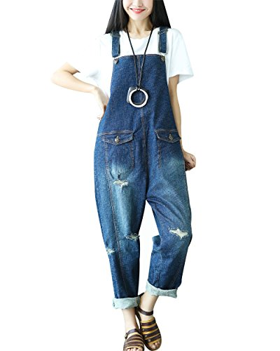 Yeokou Women's Casual Loose Denim Overalls Oversized Baggy Wide Leg Harem Pants (One Size US S-L, Style 23 Blue) ()