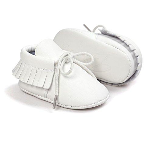 Zapatos de bebé Auxma Baby Soft Sole Anti-Slip Borlas Prewalker Toddler Zapatos Primeros zapatos para caminar Para 3-6 6-12 12-18 mes Blanco