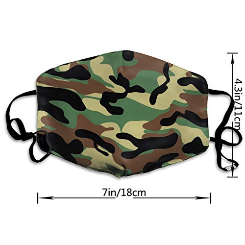 CIGOCI Boys Girls Dustproof Hypoallergenic Anti-Allergies Earloop Half Face Face Mask Face and Nose Cover Ski Windproof Polyeste Mask Adjustable Strap, Dark Brown Camouflage