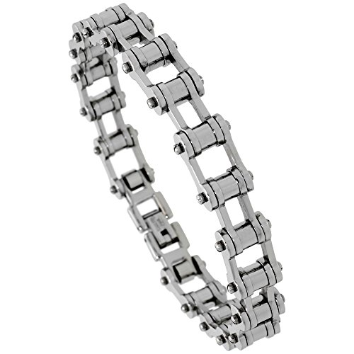 Sabrina Silver Stainless Steel Bicycle Chain Bracelet for Men 3/8 inch Wide, 8.5 inch Long