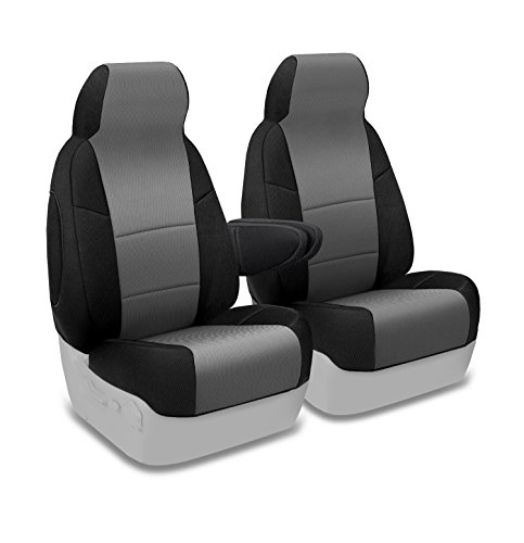 Coverking Custom Fit Front 50/50 Bucket Seat Cover for Select Ford Models - Spacermesh 2-Tone (Gray with Black Sides)