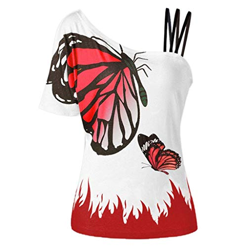 〓COOlCCI〓Women Summer Butterfly_Printing One Shoulder Strappy Cold Shoulder T-Shirt Cold Shoulder Casual Tops Blouse Red