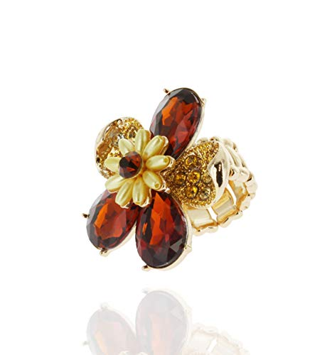 SP Sophia Collection Duchess Daisy Floral Bouquet Crystal Rhinestone Stretchable Fashion Gala Ring in Aspen Amber