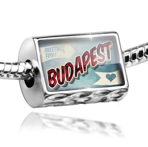 NEONBLOND Charm Greetings from Budapest, Vintage Postcard - Bead Fit All European Bracele