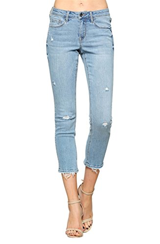 Vervet by Flying Monkey Jeans Fallen Star Light Wash Mid Rise Crop Raw Hem Skinny VT1203 (25) ()