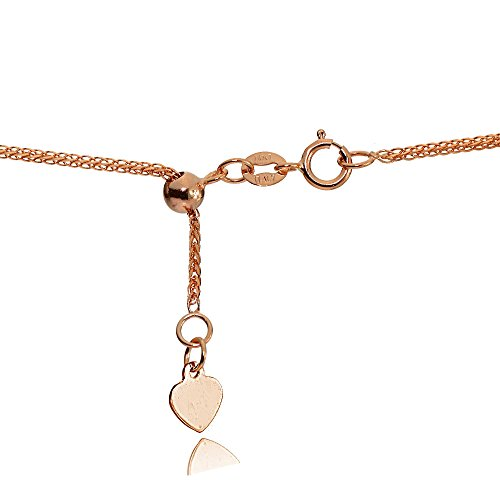 Bria Lou 14k Rose Gold .8mm Italian Spiga Wheat Adjustable Chain Necklace, 14-20 Inches by Bria Lou (Image #1)