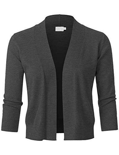 JSCEND Womens Classic 3/4 Sleeve Open Front Cropped Bolero Cardigan Charcoal M