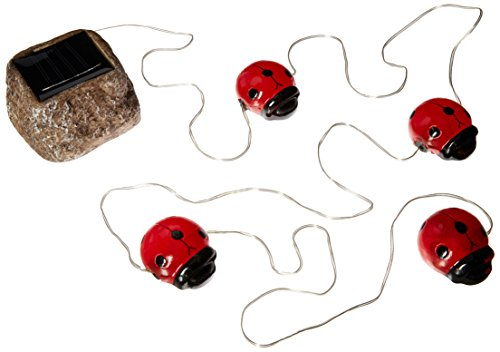 e-Joy Solar Powered LED Ladybug Garden Accent/Outdoor String Lights, Outdoor Lights, Great Gift, Red, Set of 4
