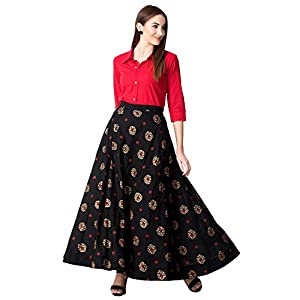 Khushal K Women's Rayon Top With Long Skirt Set
