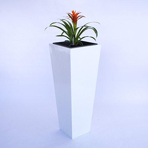 Pflanzkübel, Blumenkübel Fiberglas säule konisch 30x30x90cm hochglanz weiß.