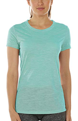 icyzone Workout Shirts for Women - Yoga Tops Gym Clothes Running Exercise Athletic T-Shirts (S, Ice Green)