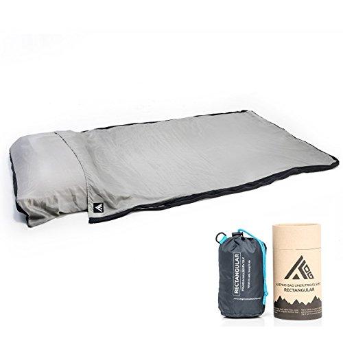 (Kingdom Outdoor Gear 100% Premium Mulberry Silk Rectangular Sleeping Bag Liner and Travel Sheet with Stuff Sack (Gray/Black, Rectangular))