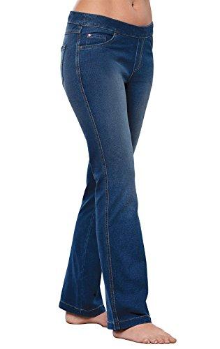 PajamaJeans Women's Petite Bootcut Stretch Knit Jeans, Bluestone, Large 12-14