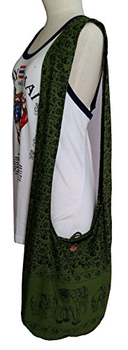 Sling Cotton Elephant Bag Crossbody Color Handmade Bag Hippie Purse Hobo Zip BELLEZAS Green Shoulder q1PwdBtBx