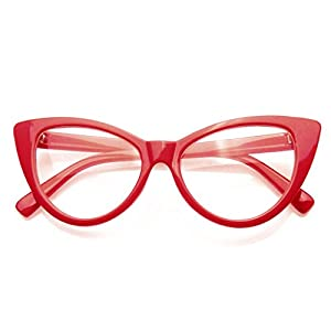 Super Cat Eye Glasses Vintage Fashion Mod Clear Lens Eyewear (Red, 0)