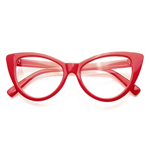 Super Cat Eye Glasses Vintage Fashion Mod Clear Lens Eyewear (Red, - Cat Frames Eyeglasses