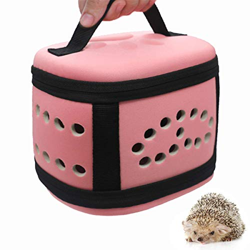 (Travel Small Animals Guinea Pig Hamster Hedgehog Carrier Bag with Soft Mat Breathable Pink Portable Small Guinea Pig Chinchillas Hamsters Hedgehogs Carrier Handbag Mini Box for Small Animals Carriers)